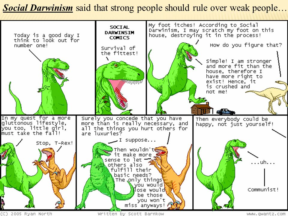 Social Darwinism said that strong people should rule over weak people…