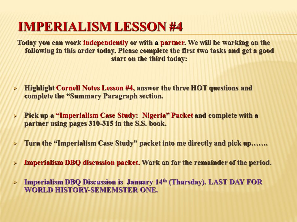 Imperialism Lesson #4