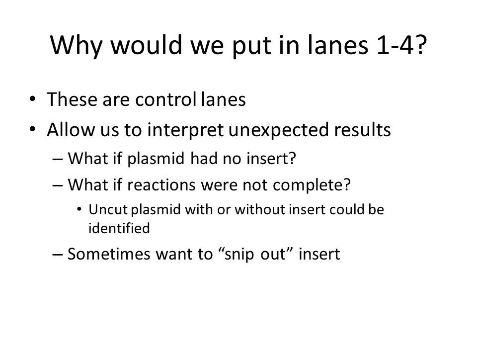 Why would we put in lanes 1-4