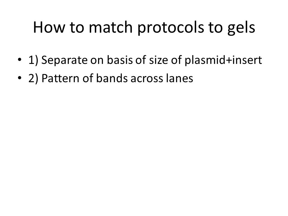 How to match protocols to gels