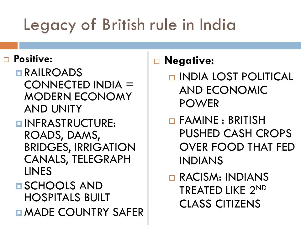 Legacy of British rule in India