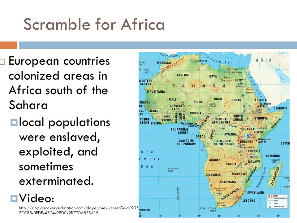 Scramble for Africa European countries colonized areas in Africa south of the Sahara.