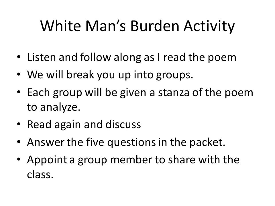 White Man's Burden Activity