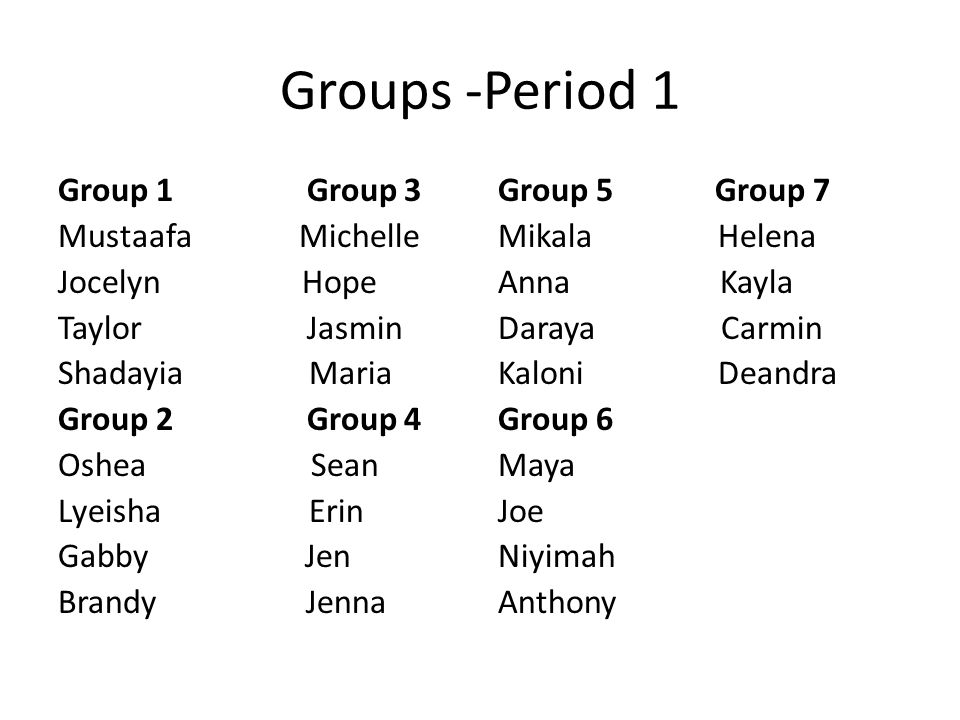 Groups -Period 1 Group 1 Group 3 Mustaafa Michelle Jocelyn Hope