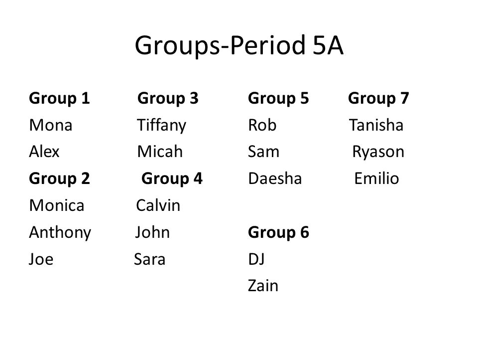 Groups-Period 5A Group 1 Group 3 Mona Tiffany Alex Micah