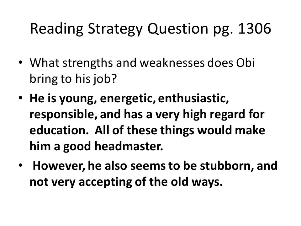 Reading Strategy Question pg. 1306