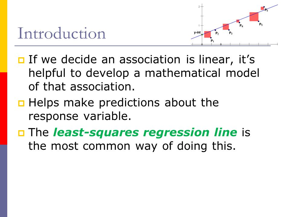 Introduction If we decide an association is linear, it's helpful to develop a mathematical model of that association.