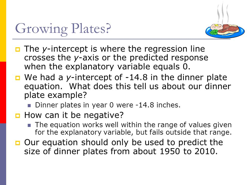 Growing Plates The y-intercept is where the regression line crosses the y-axis or the predicted response when the explanatory variable equals 0.
