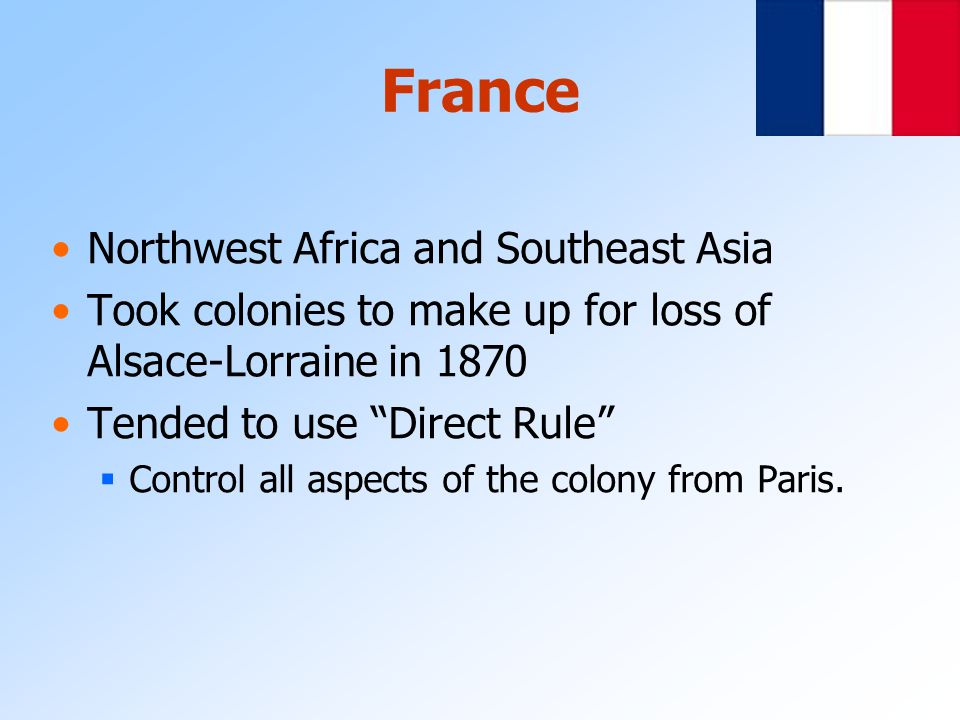 France Northwest Africa and Southeast Asia