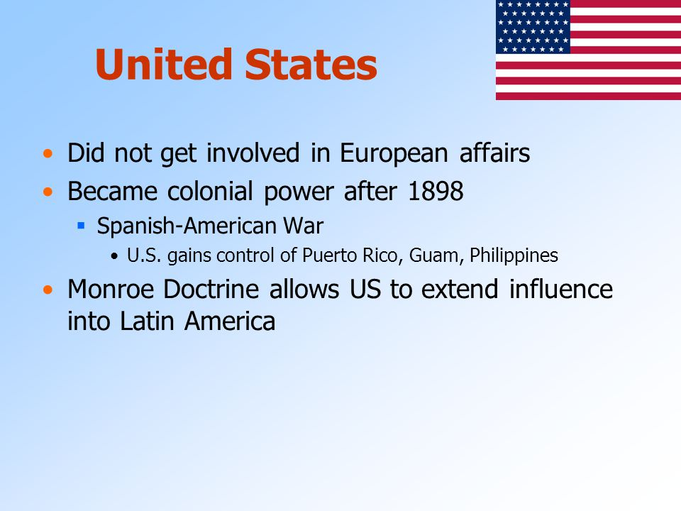 United States Did not get involved in European affairs