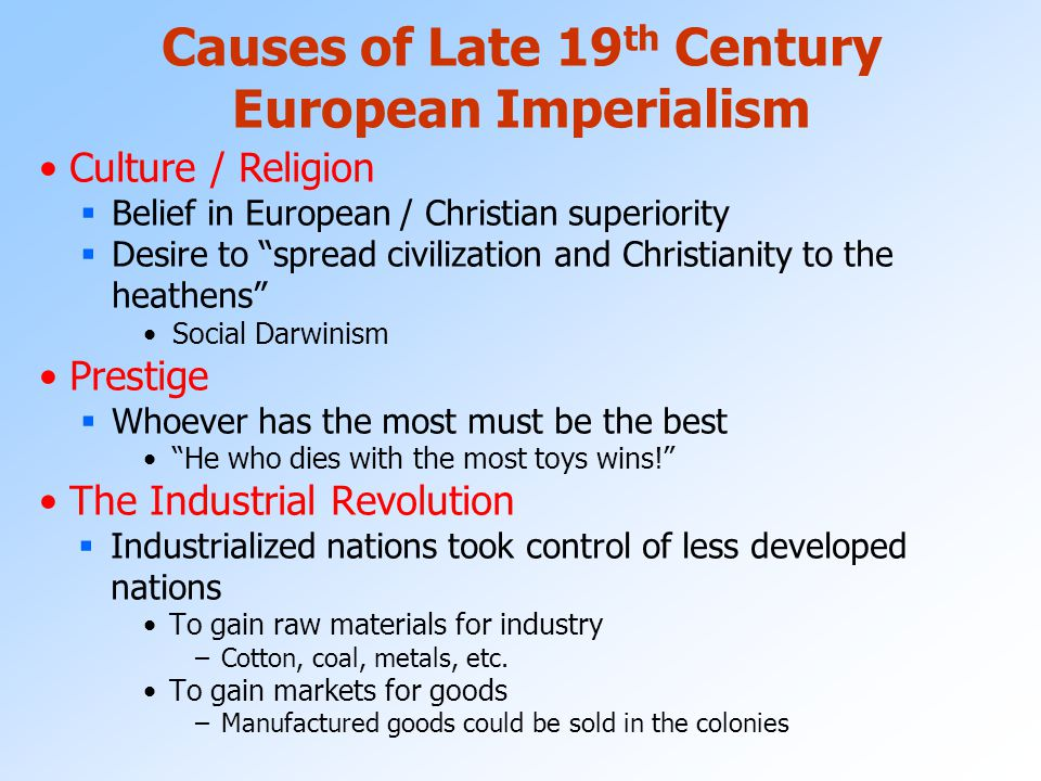 imperialism and nationalism in the 19th century europe Transcript of the causes of imperialism in the 19th century list the positive and negative consequences of european imperialism in africa consequences of european.