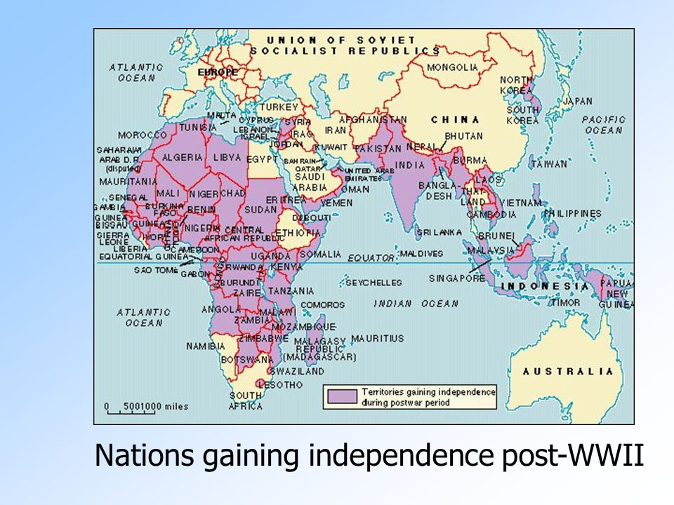 Nations gaining independence post-WWII