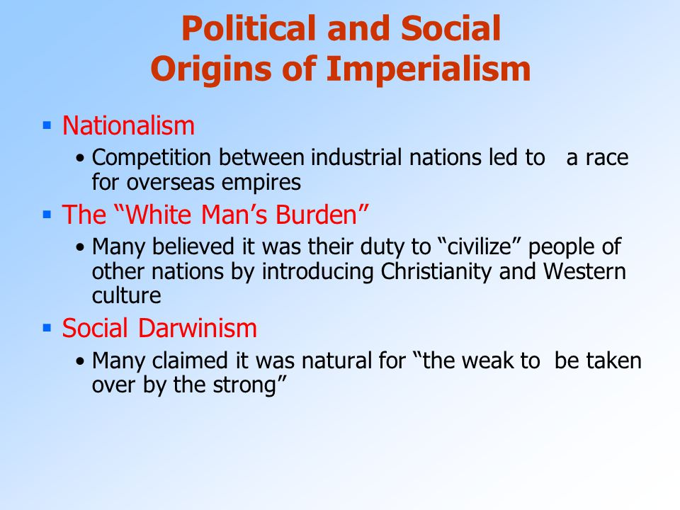 Political and Social Origins of Imperialism