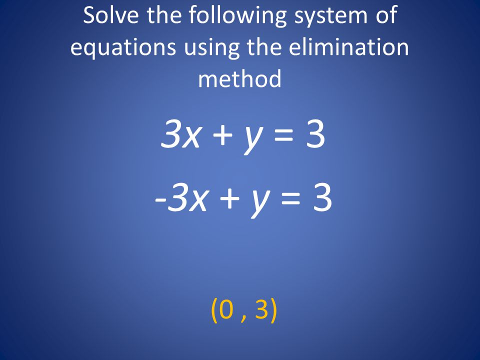 Solve the following system of equations using the elimination method