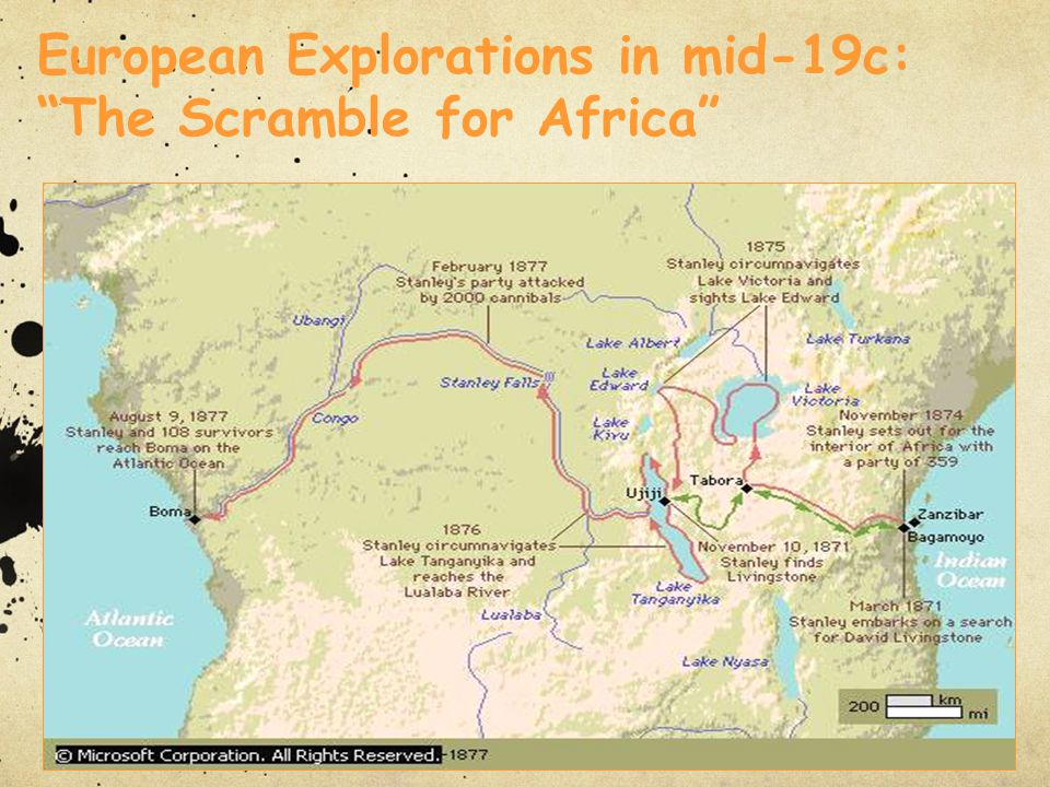 European Explorations in mid-19c: The Scramble for Africa