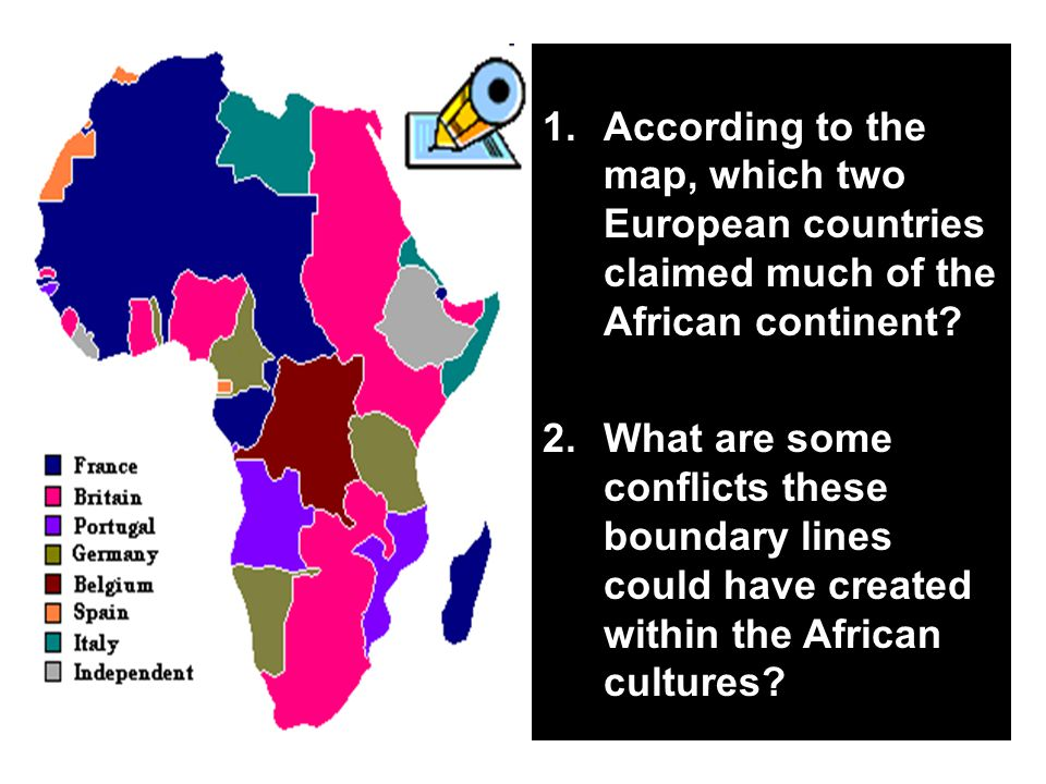 According to the map, which two European countries claimed much of the African continent