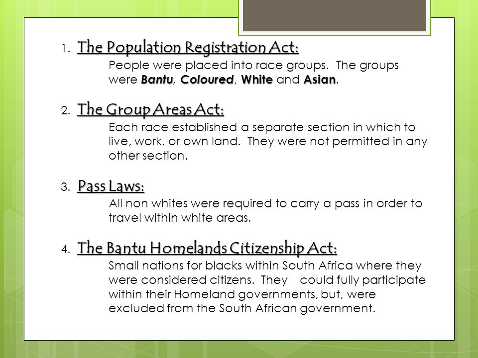 1. The Population Registration Act: