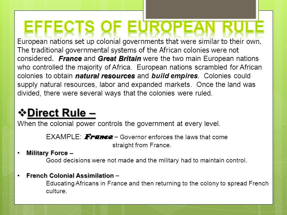 Effects of European Rule