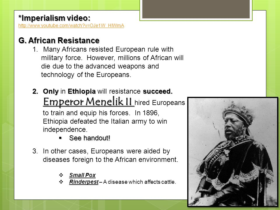 african resistance to imperialism The late 19th and early 20th centuries in africa were defined by constant  european imperial invasions in this lesson, we'll explore some of the.