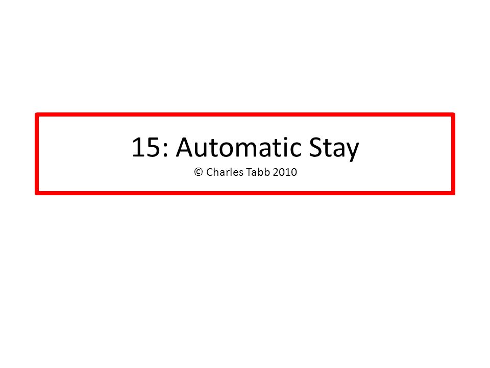 15: Automatic Stay © Charles Tabb 2010