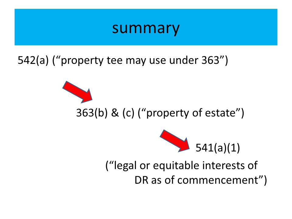 summary 542(a) ( property tee may use under 363 )