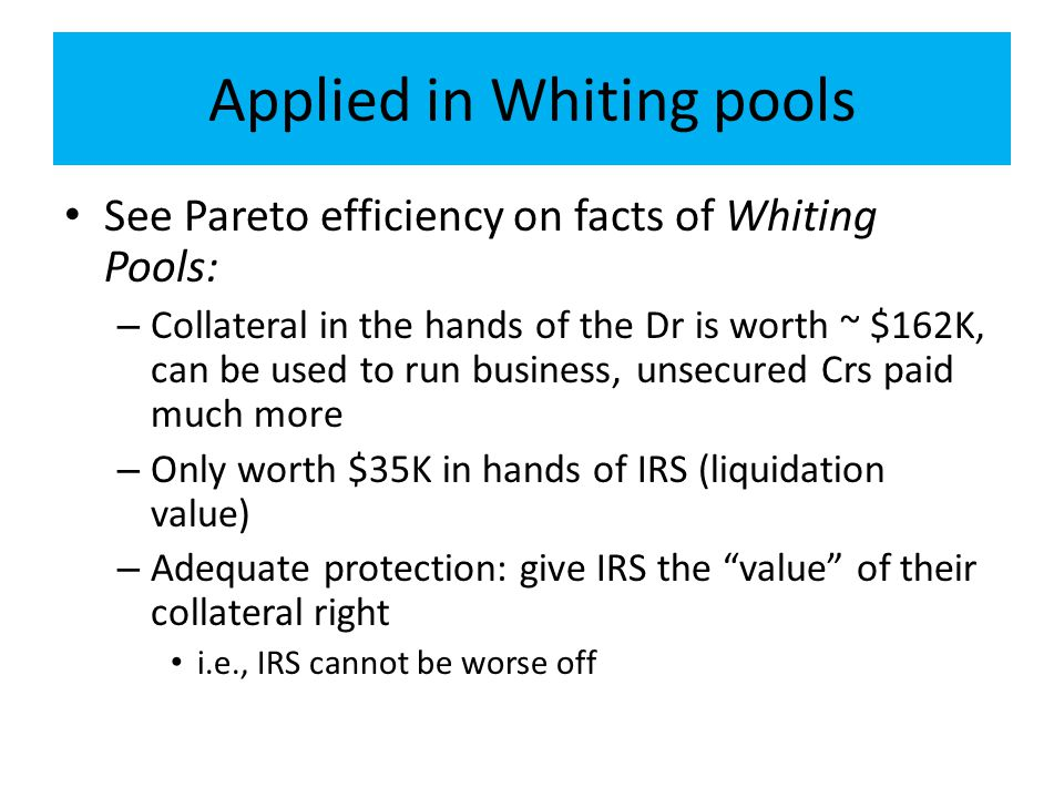 Applied in Whiting pools