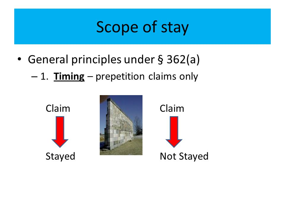 Scope of stay General principles under § 362(a)