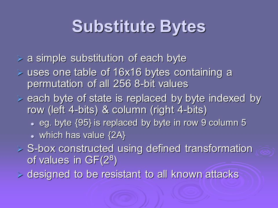 Substitute Bytes a simple substitution of each byte