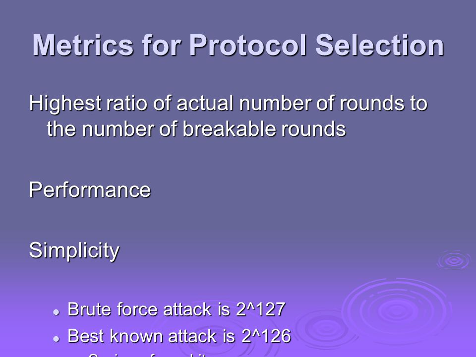 Metrics for Protocol Selection