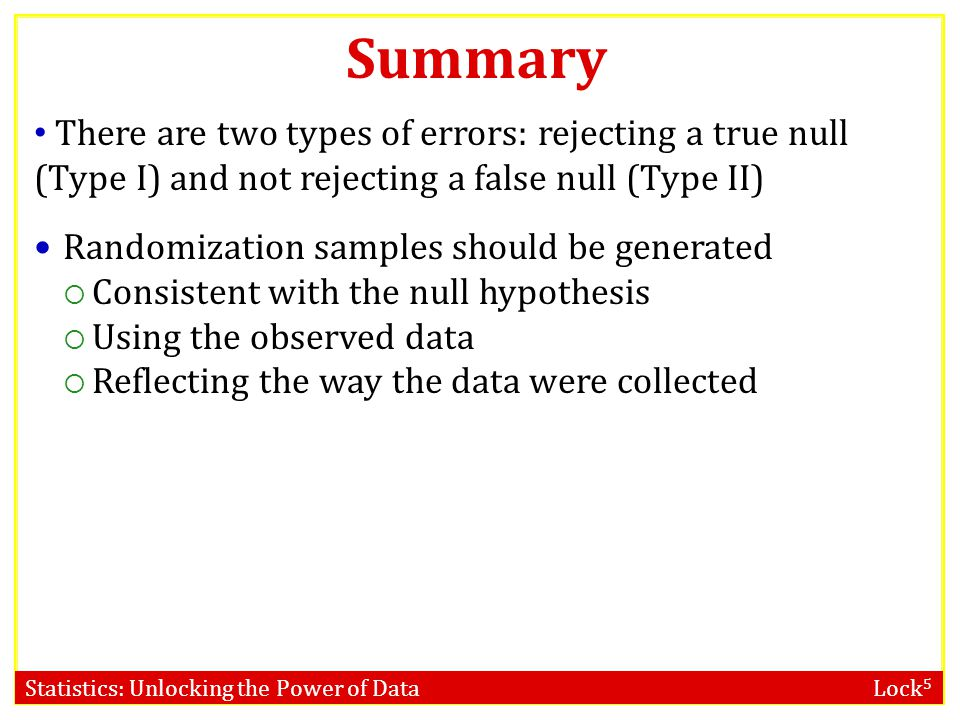 Summary There are two types of errors: rejecting a true null (Type I) and not rejecting a false null (Type II)