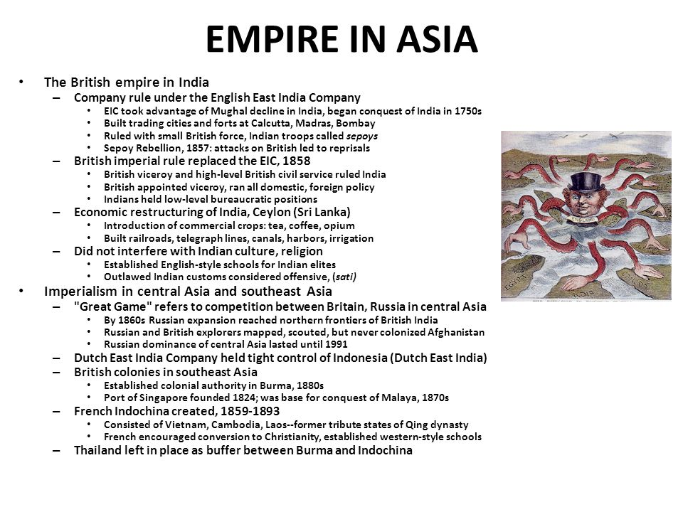 EMPIRE IN ASIA The British empire in India