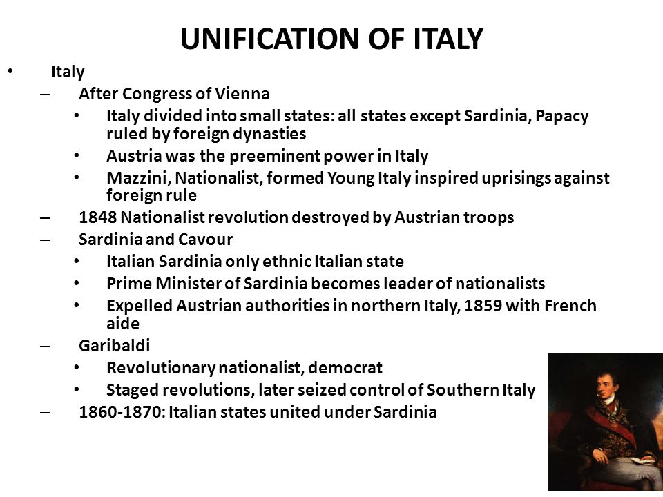 UNIFICATION OF ITALY Italy After Congress of Vienna
