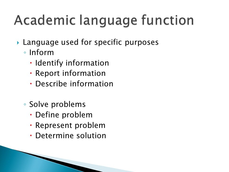 Academic language function