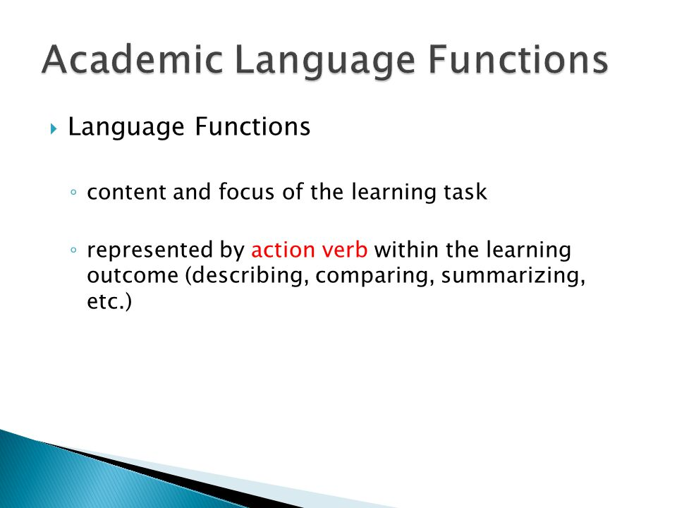 Academic Language Functions