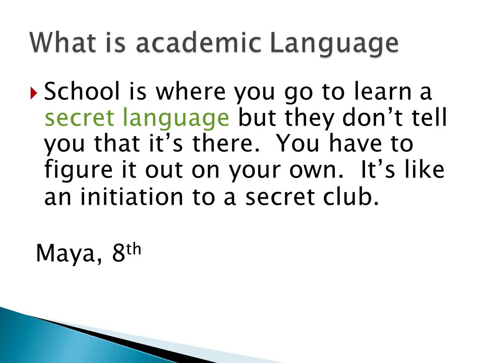 What is academic Language