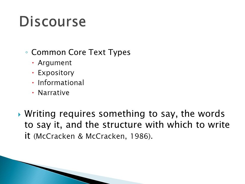 Discourse Common Core Text Types. Argument. Expository. Informational. Narrative.