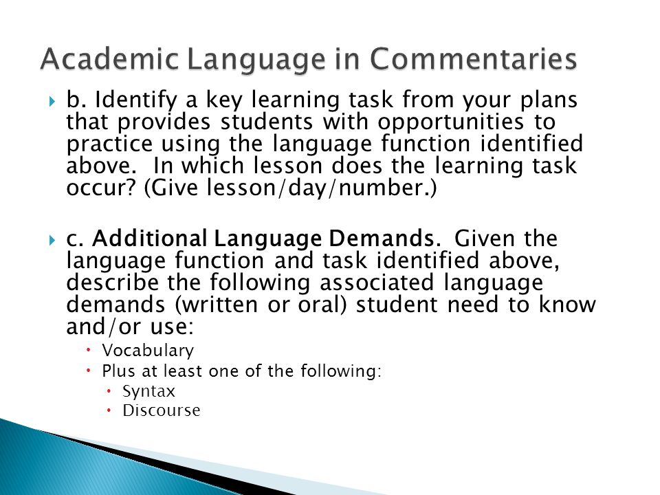 Academic Language in Commentaries