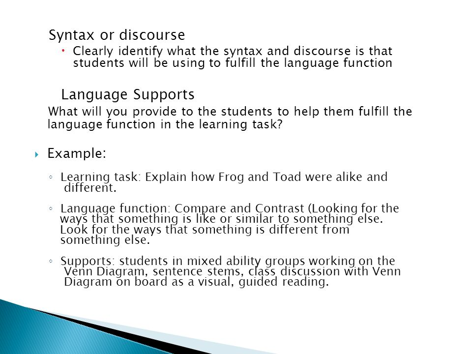 Syntax or discourse Language Supports