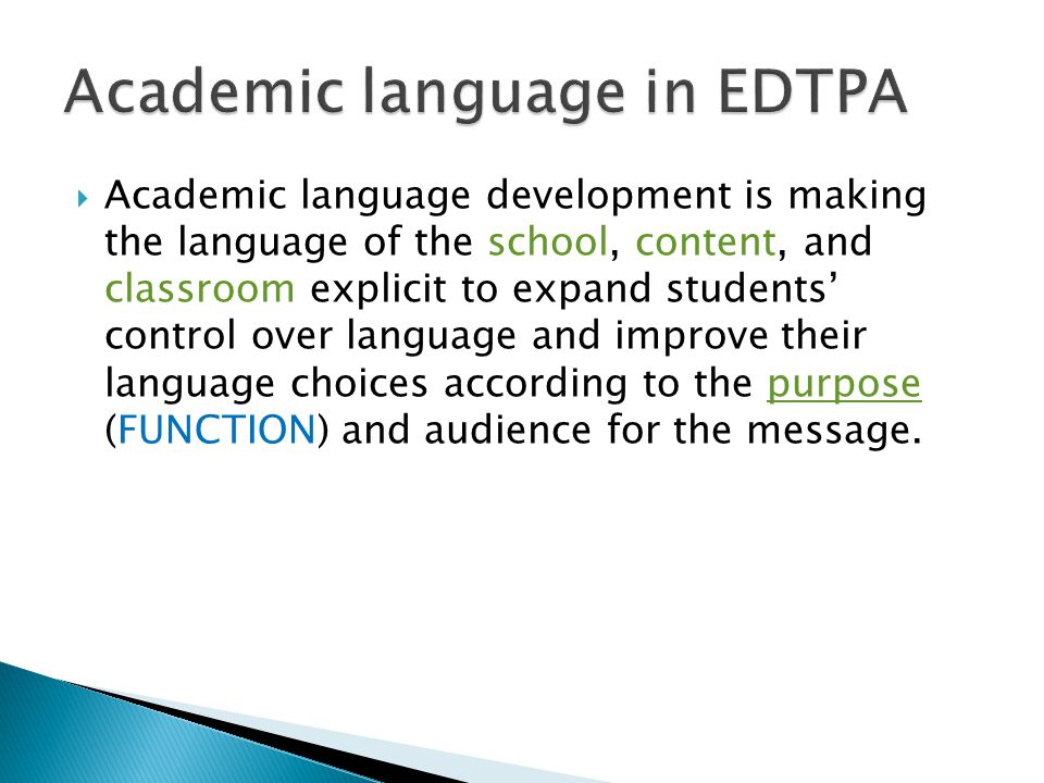 Academic language in EDTPA