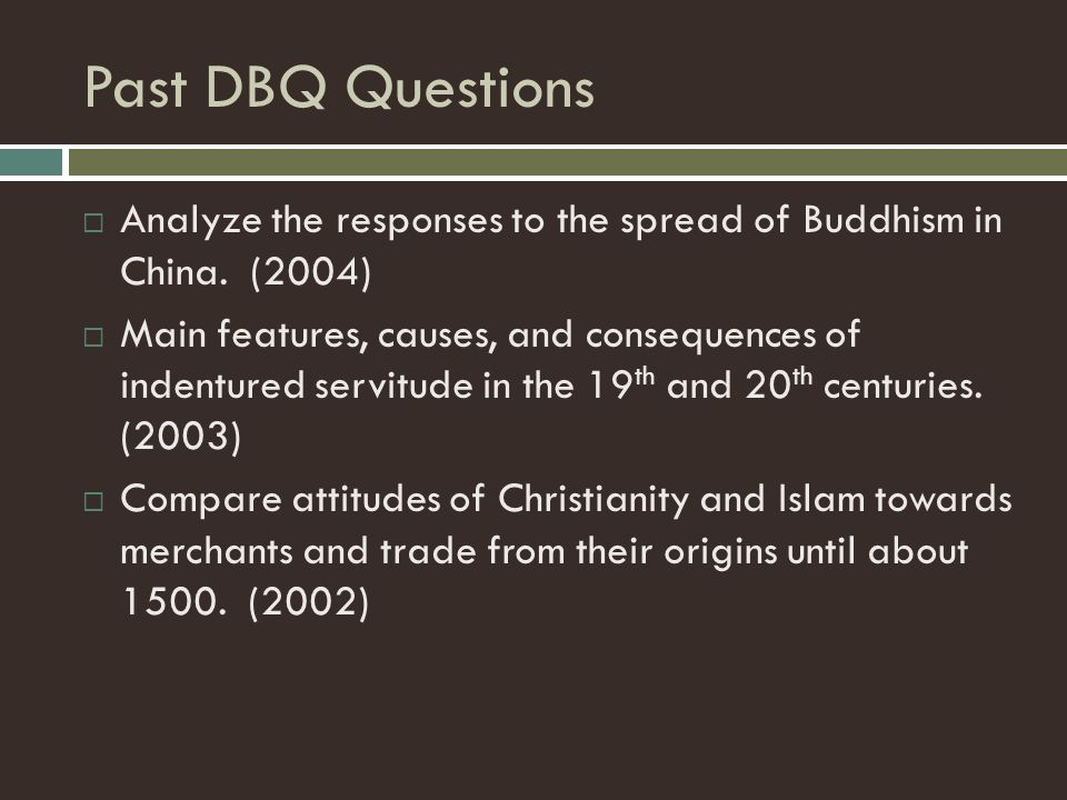 dbq essay buddhism Dbq essay in response to the spread of buddhism in china, these documents reveal how some people preached about it in their sermons and spoke publicly about it they.