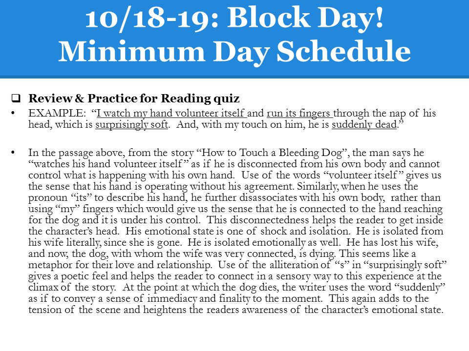 10/18-19: Block Day! Minimum Day Schedule