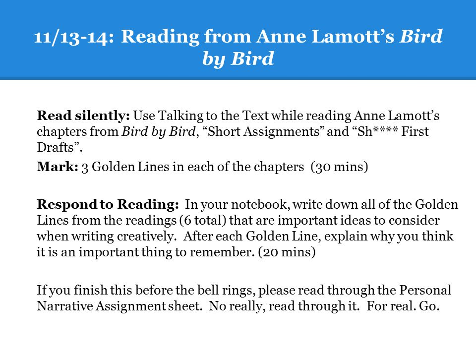 11/13-14: Reading from Anne Lamott's Bird by Bird