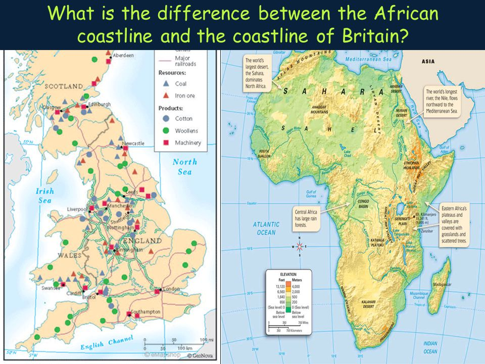 What is the difference between the African coastline and the coastline of Britain