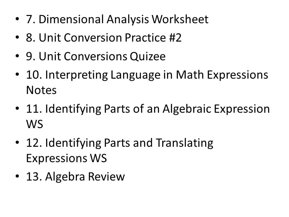 Table of Contents UNIT ONE 1 Defining Appropriate Units Practice – Dimensional Analysis Problems Worksheet