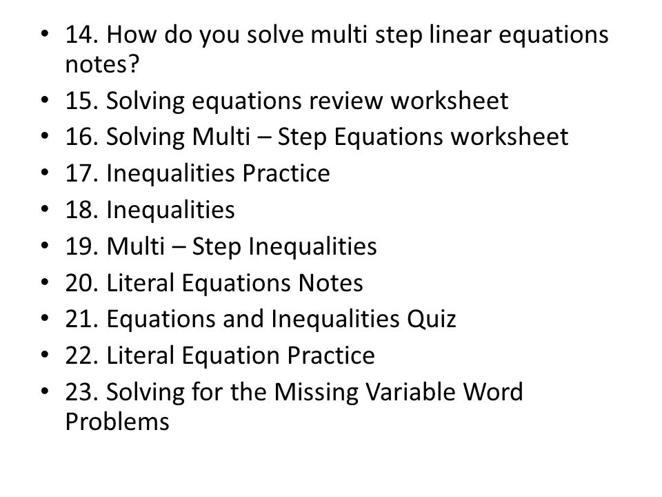 Table of Contents UNIT ONE 1 Defining Appropriate Units Practice – Multi Step Equation Word Problems Worksheet