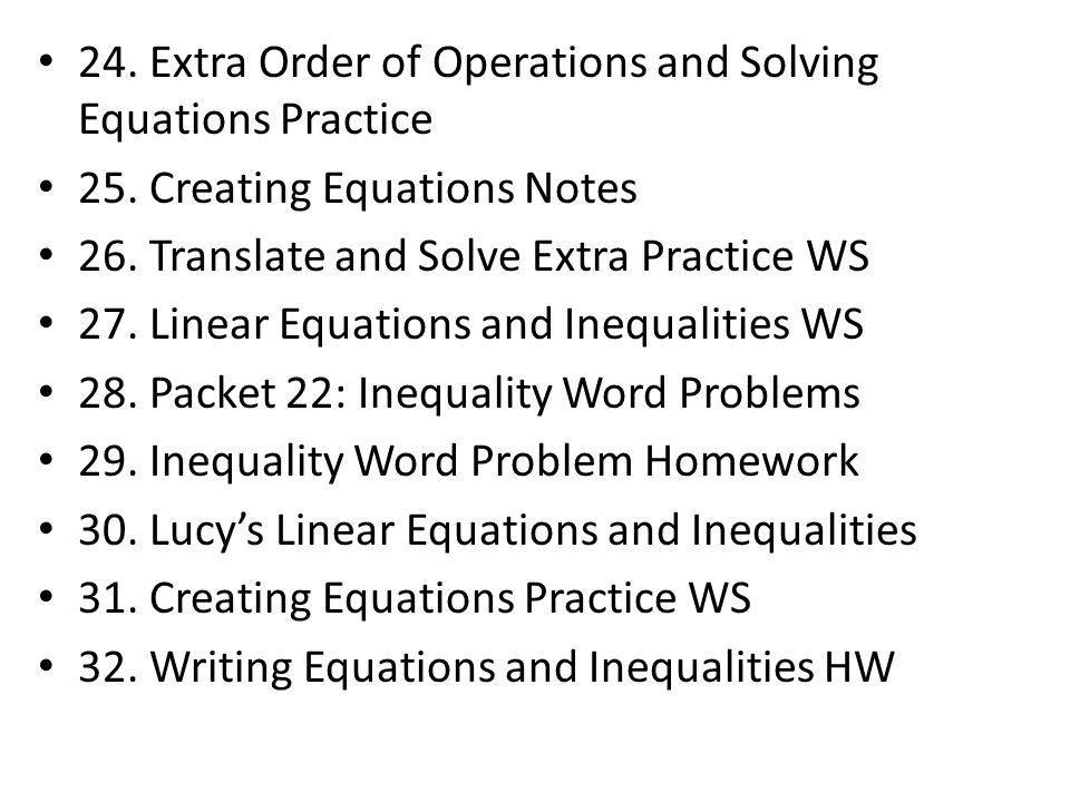 24. Extra Order of Operations and Solving Equations Practice