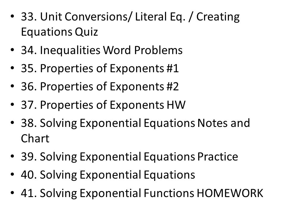 33. Unit Conversions/ Literal Eq. / Creating Equations Quiz