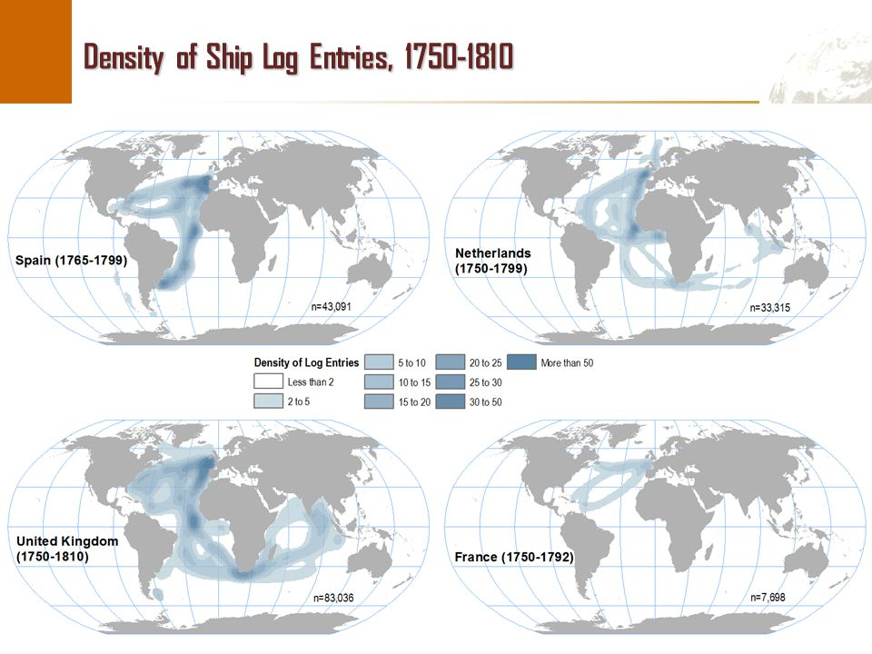 Density of Ship Log Entries, 1750-1810