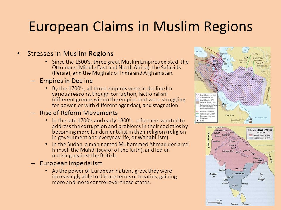 European Claims in Muslim Regions