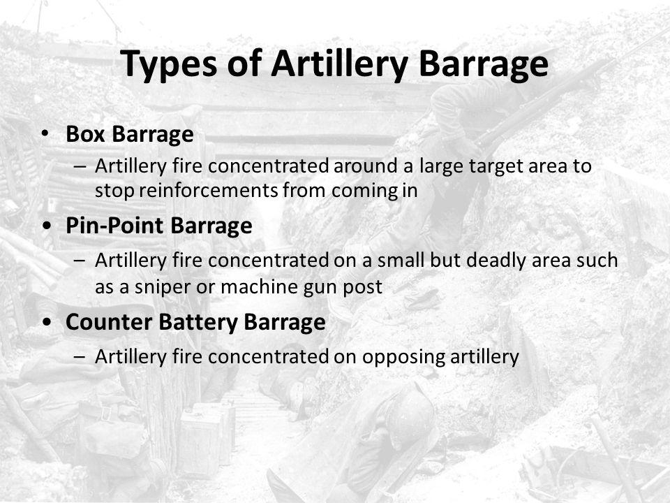 Types of Artillery Barrage